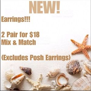 Jewelry - 2/$18 Earrings/Rings Mix & Match